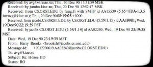 Пример почтового сообщения