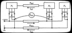 Появление разности потенциалов при двухпроводном кабеле питания